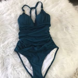 Rouched Teal One Piece Swimsuit